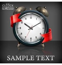 Retro alarm clock ribbon vector image vector image