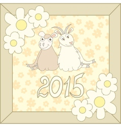 Retro card with cartoon sheep and goat for vector
