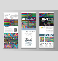 Roll up banner stands abstract style templates vector