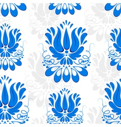 Seamless background with blue ornament gzhel vector