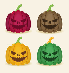 set of halloween colored pumpkins vector image