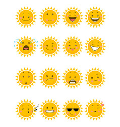 sixteen sun emojis vector image