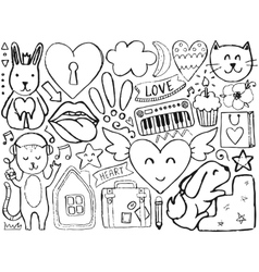 Sketch cute elements vector