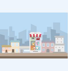 Smartphone concept store online service vector