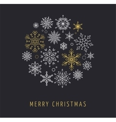 Snowlakes geometric Christmas circle background vector image vector image