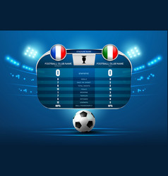 Soccer football with scoreboard and spotlight vector