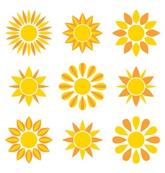 Sun collection icons vector image