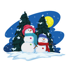 Two snowmen and christmas tree vector