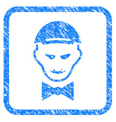 Vampire head framed stamp vector