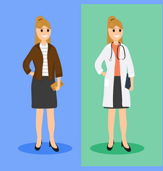 Woman doctor in ordinary life flat design vector