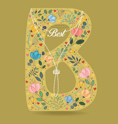 yellow letter b with floral decor and necklace vector image vector image