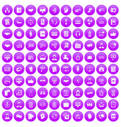 100 discussion icons set purple vector