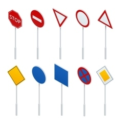 Isometric traffic signs collection vector