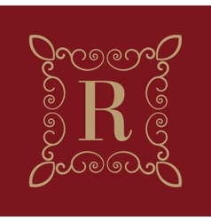 Monogram letter r calligraphic ornament gold vector