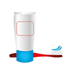 toothbrush and cream icon vector image