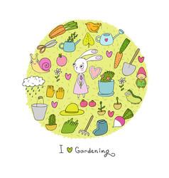 Cute cartoon rabbit girl and set of garden objects vector