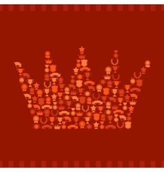 Trophies and awards icons in the form of crown vector