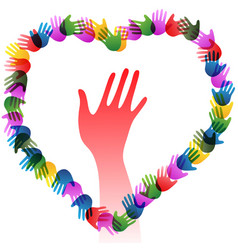 Colorful hands holding forming heart vector