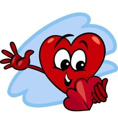 Heart with valentine card cartoon vector