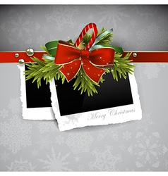 Christmas design with photos vector