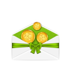 Open white envelope with golden coins and bow vector