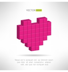 Pink heart icon in special pixel flat design vector