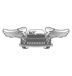 Retro car with wings isolated vector image