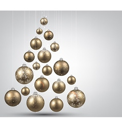 Christmas tree with golden christmas balls vector