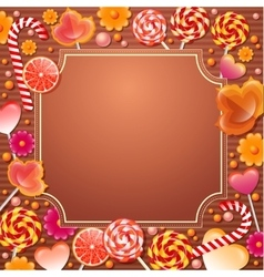 Frame with sweets candys vector