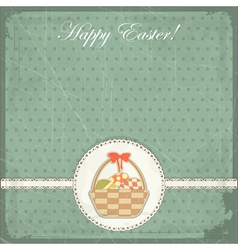 easter card in vintage style - basket of easter eg vector image