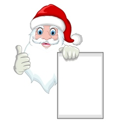 Santa clause cartoon holding blank sign vector