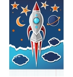 Handmade paper rocket in a school notebook vector