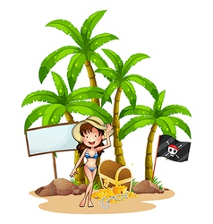 A sexy girl at the beach near the empty signboard vector image