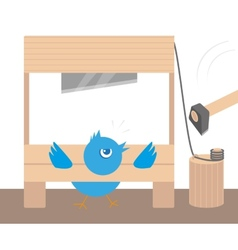 Blue angry bird in guillotine vector