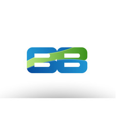 Blue green bb b b alphabet letter logo vector
