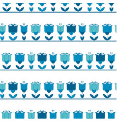 Bright blue color abstract tulip flower motif vector