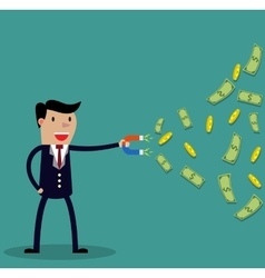 Businessman with magnet vector