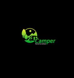 camper tourism logo vector image