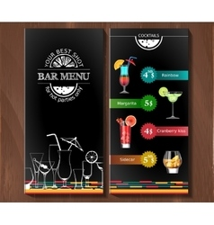 Design menu for cocktail bar in the corporate vector