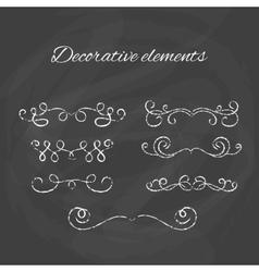 Dividers set Chalk divider on blackboard Hand vector image