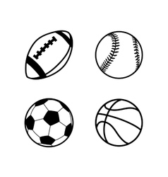Four simple black icons of balls for rugby soccer vector