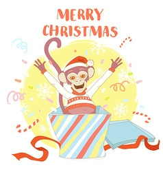 Funny Merry Christmas card with monkey jumping out vector image vector image