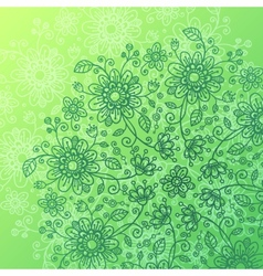 Green doodle flowers background vector image vector image