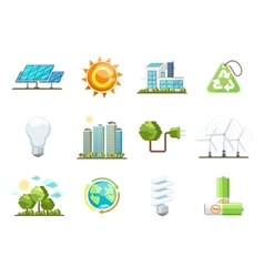 Green power icons Eco clean energy set vector image vector image