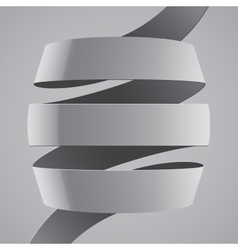 Grey fabric curved ribbon on grey background vector