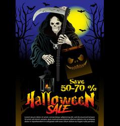 halloween sale offer poster design concept vector image vector image