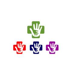 hand care medical cross logo vector image