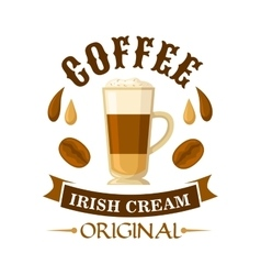 Irish cream coffee cocktail badge for menu design vector
