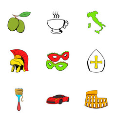 Italian travel icons set cartoon style vector