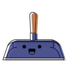 Kawaii hand dustpan with wooden stick in colorful vector